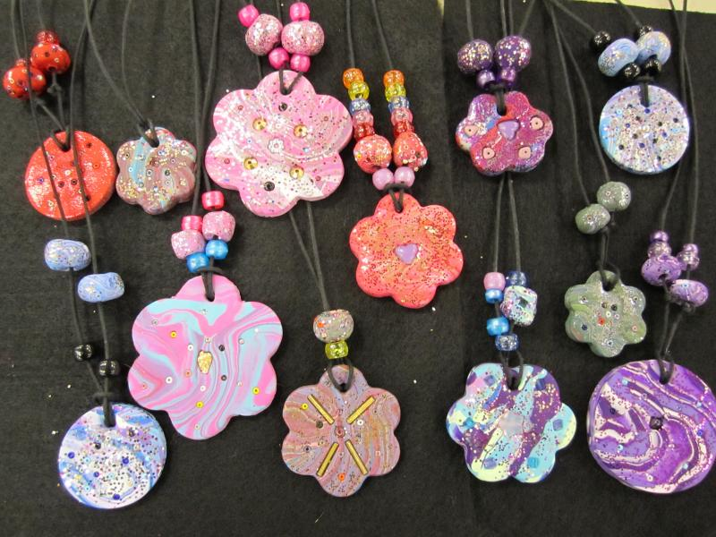 clay jewelry with texture and design